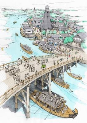 永代橋、深川鳥瞰画