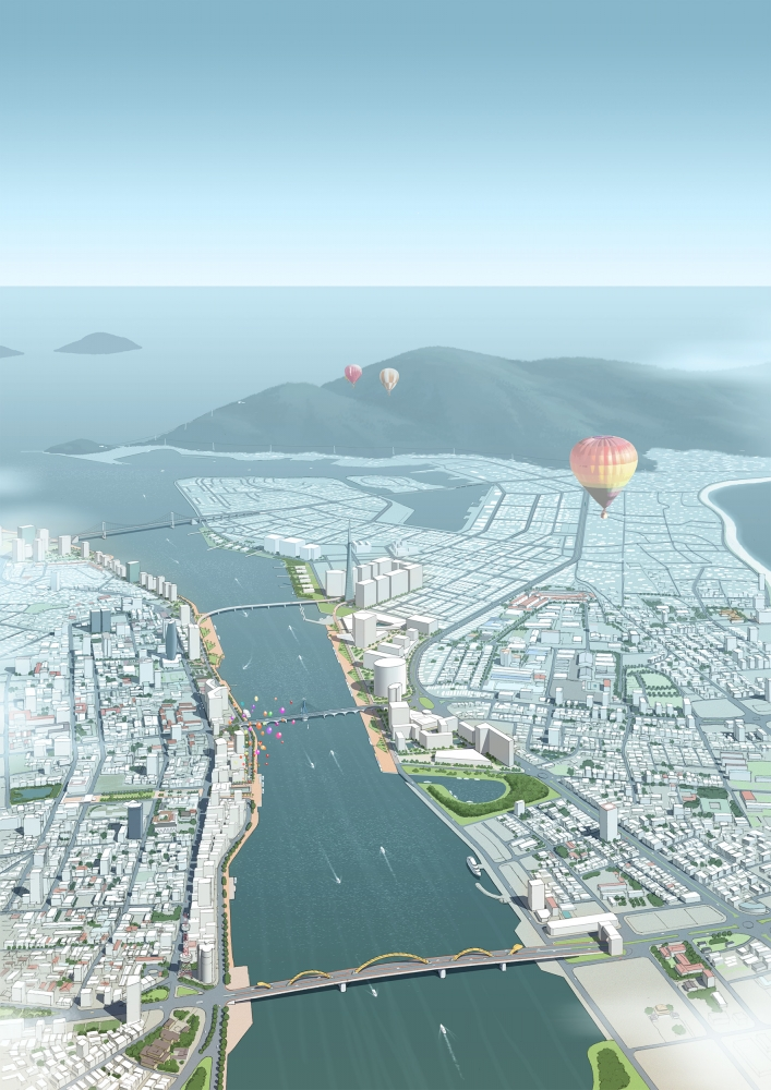 ベトナム国ダナン市ハン河ウォーターフロントエリアの将来イメージ