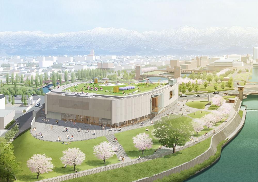 富山県美術館(北西側鳥瞰)