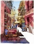 旅のスケッチ・赤い壁の路地--Alley of red wall in Cagliari, Italy