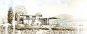 湖畔に建つアトリエ